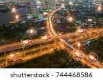logistic gps tracking followers | Shutterstock . vector #744468586