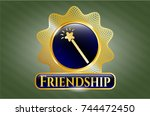 gold badge with magic stick... | Shutterstock .eps vector #744472450