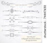 calligraphic hand drawn design... | Shutterstock .eps vector #74447650