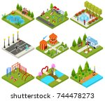 city public park or square... | Shutterstock .eps vector #744478273