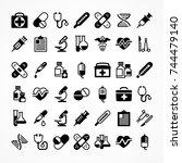 set of medical icons on white ... | Shutterstock .eps vector #744479140