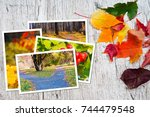 autumn postcards on wooden table | Shutterstock . vector #744479548