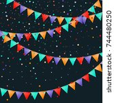 bunting flags garland.... | Shutterstock .eps vector #744480250