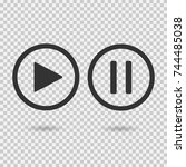 play button and pause button.... | Shutterstock .eps vector #744485038