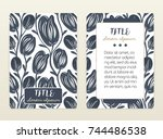 cover design with floral... | Shutterstock .eps vector #744486538