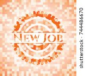 new job abstract orange mosaic... | Shutterstock .eps vector #744486670