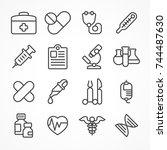 medical line icons on white... | Shutterstock .eps vector #744487630