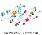flat isometric buildings.... | Shutterstock .eps vector #744491440