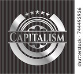 capitalism silvery badge | Shutterstock .eps vector #744493936