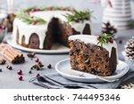 christmas fruit cake  pudding...   Shutterstock . vector #744495346