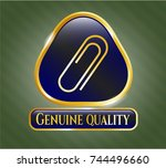 gold emblem with paper clip... | Shutterstock .eps vector #744496660