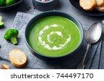 broccoli cream soup in a bowl...   Shutterstock . vector #744497170