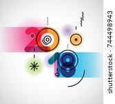 creative happy new year 2018... | Shutterstock .eps vector #744498943