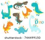 set of cute cartoon dinosauros  ... | Shutterstock .eps vector #744499150