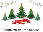 christmas tree with lights that ... | Shutterstock .eps vector #744500050