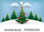 christmas tree with lights that ... | Shutterstock .eps vector #744500104