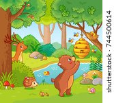 vector illustration with a bear ... | Shutterstock .eps vector #744500614