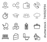 thin line icon set   pointer ...   Shutterstock .eps vector #744502954