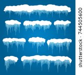 icicles and snowdrifts vector... | Shutterstock .eps vector #744505600