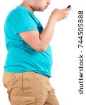 fat boy  the size of stomach of ... | Shutterstock . vector #744505888