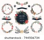 christmas wreaths collection ... | Shutterstock .eps vector #744506734