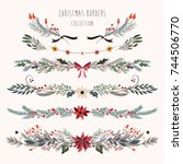 christmas decorative borders... | Shutterstock .eps vector #744506770