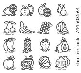 fruits icon set outlined.... | Shutterstock .eps vector #744508564