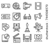 vector line cinema icons set on ... | Shutterstock .eps vector #744508570