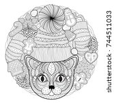 christmas coloring page   Shutterstock .eps vector #744511033