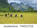 vang vieng  laos   oct 13  ... | Shutterstock . vector #744511723