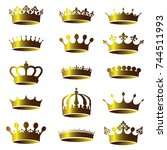 set of vector vintage golden... | Shutterstock .eps vector #744511993