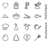 thin line icon set   hex... | Shutterstock .eps vector #744514663
