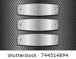 metal brushed plates on... | Shutterstock .eps vector #744514894