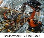 automobile plant  welding... | Shutterstock . vector #744516550