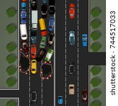 city traffic background with... | Shutterstock .eps vector #744517033
