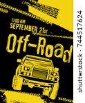 off road event poster. vector... | Shutterstock .eps vector #744517624