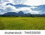 rice fields and mountains at... | Shutterstock . vector #744520030