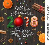 merry christmas  happy new year ... | Shutterstock .eps vector #744521464