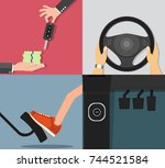steering wheel car buying a car ... | Shutterstock .eps vector #744521584