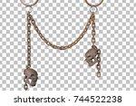 rusty skull with rust chain... | Shutterstock . vector #744522238