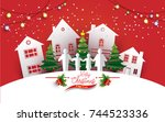 christmas tree with beautiful... | Shutterstock .eps vector #744523336