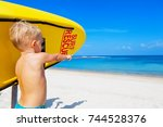 life saving yellow board with... | Shutterstock . vector #744528376