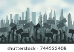 silhouette crowd of people... | Shutterstock .eps vector #744532408