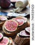 sandwich with figs and goat... | Shutterstock . vector #744535420