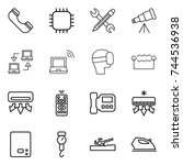 thin line icon set   phone ... | Shutterstock .eps vector #744536938