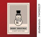 merry christmas vector minimal... | Shutterstock .eps vector #744540229