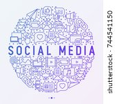 social media concept in circle... | Shutterstock .eps vector #744541150