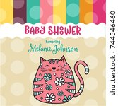 baby shower card template with... | Shutterstock .eps vector #744546460