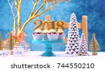 happy new year 2018 cupcakes on ... | Shutterstock . vector #744550210