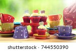 colorful mad hatter style tea...   Shutterstock . vector #744550390